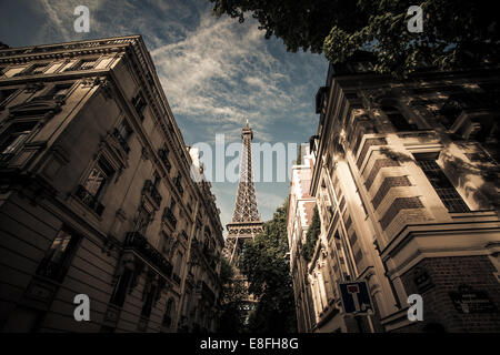 France, Paris, Eiffel Tower seen from street - Stock Image