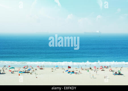 Brazil, Rio de Janeiro, Copacabana, People on beach - Stock Image