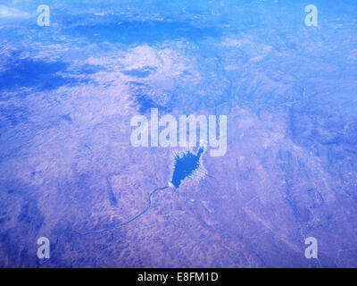 California, United States of America Desert, Mountains, Lake And River From Above - Stock Image