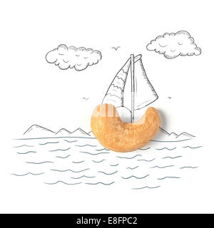 Conceptual sailing boat - Stock Image