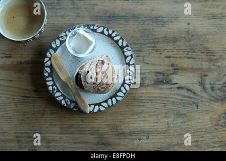 Bread roll and butter - Stock Image