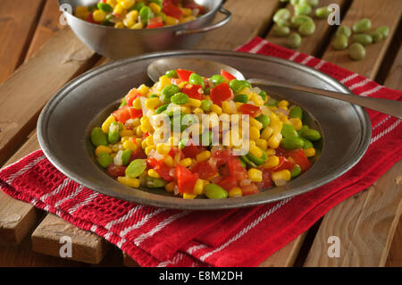 Succotash. Corn and lima bean stew. USA Food - Stock Image