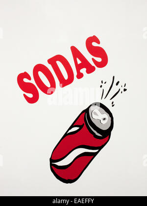 hand painted sign advertising soda for sale - Stock Image