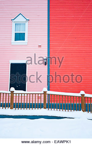 Colorful contrasting colors in Dawson City architecture. - Stock Image