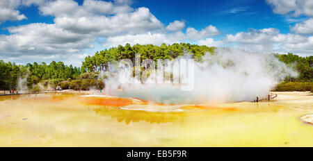 Artist's Palette pool, hot thermal spring, Rotorua, New Zealand - Stock Image