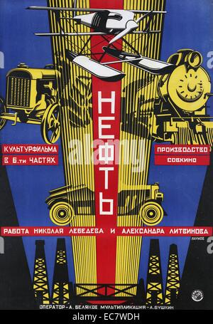 Soviet silent movie poster - Stock-Bilder