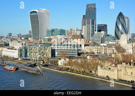 Tower Pier & River Thames with City of London skyline 'Walkie Talkie', 'Cheese Grater', & - Stock Image