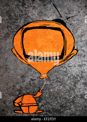 orange man with  balloon television head - Stock-Bilder