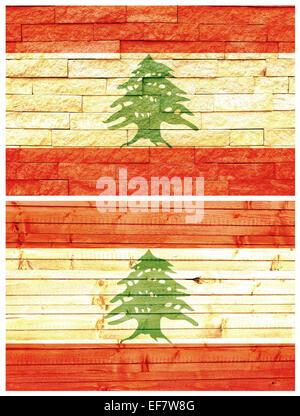 Vintage wall flag of Lebanon - Stock Image
