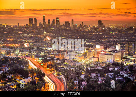 Los Angeles, California, USA downtown skyline at dawn. - Stock-Bilder
