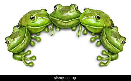 Frog group sign as a team of happy fun green amphibians sitting on the top of a white blank card background representing - Stock Image