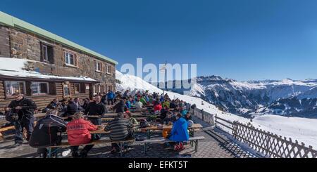 Winter in Flumserberg, Maschgenkamm , Tannenbodenalp, Ski Hut, Restaurant, Panorama,   Swiss Alps, St. Gallen, Switzerland - Stock Image