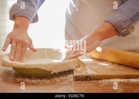 woman making pie crust. - Stock-Bilder