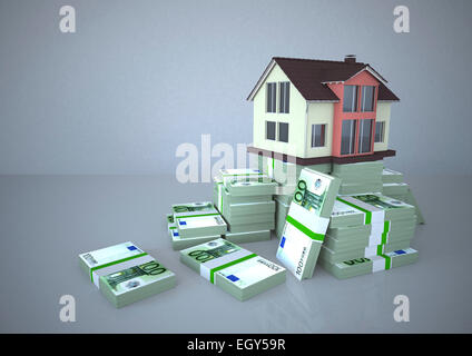 House and Euro notes, Illustration - Stock Image