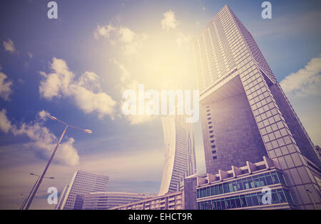 Urban landscape in retro style, Warsaw skyline, Poland. - Stock-Bilder