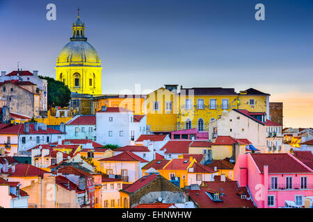 Lisbon, Portugal skyline at Alfama, the oldest district of the city with the National Pantheon Dome. - Stock-Bilder