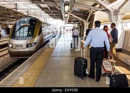 South Africa African Johannesburg JNB O. R. Tambo International Airport Gautrain Station train public transportation - Stock Image