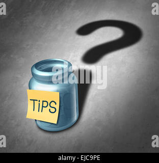 Tip jar symbol and tipping questions concept as a gratuity container with money inside casting a shadow shaped as - Stock Image