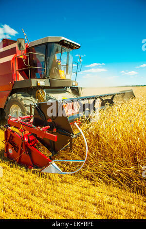 combine harvester close up - Stock Image