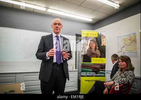 Edinburgh UK Apr 15 2015;  Deputy First Minister John Swinney outlines his arguments for the SNP's anti-austerity - Stock Image