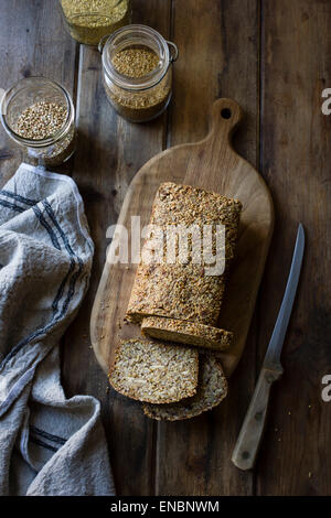 A Gluten-Free Vegan Nut and Seed Bread - Stock Image