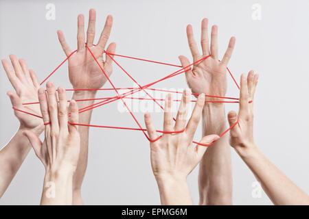 Connection, Team, Teamwork, Relationship, Hands, Cat's Cradle - Stock-Bilder