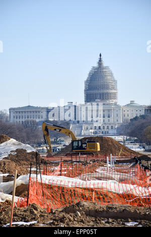 Renovations on a section of the eastern end of the National Mall in Washington DC, with the dome of the U.S. Capitol - Stock Image