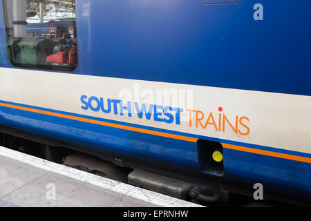 The side of a South West Trains carriage. - Stock Image