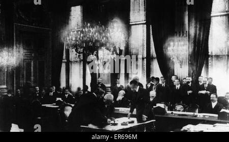 French President Georges Clemenceau seen here ratifying the Treaty of Versailles for the French Government. on the - Stock Image