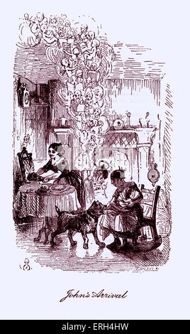 The Cricket on the Hearth by Charles Dickens, published in 1845. Caption reads: 'John's Arrival'. Mary - Stock Image