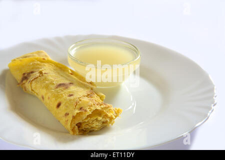 Puran Poli With Ghee In Bowl On Plate On White Background Stock Image
