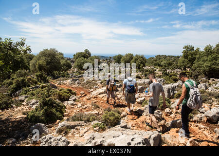 Male hikers walking the Lycian way, Turkey - Stock Image