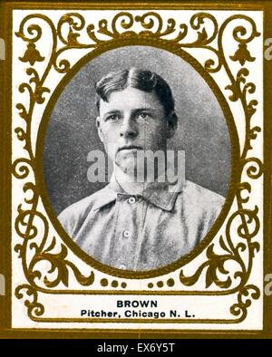 Three Finger Brown, Chicago Cubs, baseball card portrait - Stock Image