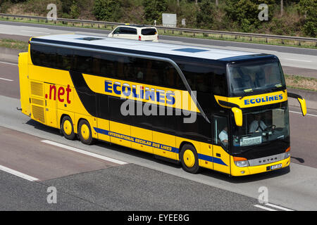 Intercity bus Ecolines moving fast on the highway in Germany - Stock-Bilder