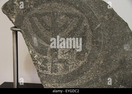 Menorah relief on a basalt slab, probably from a Synagogue in Tiberias, Roman-Byzantine period, at the Hecht Museum, - Stock Image