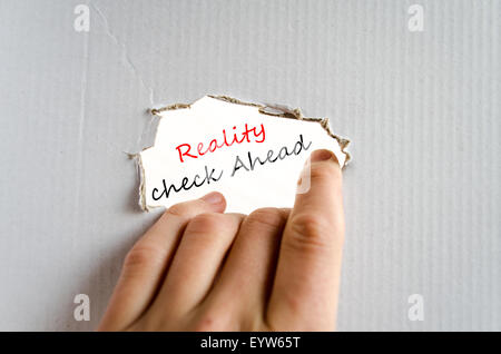 Reality check ahead text concept isolated over white background - Stock Image