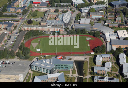 aerial view of the athletics running track at Edge Hill University, near Ormskirk, Lancashire, UK - Stock Image