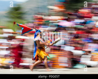 Dancer performing Paro religious festival Bhutan - Stock-Bilder