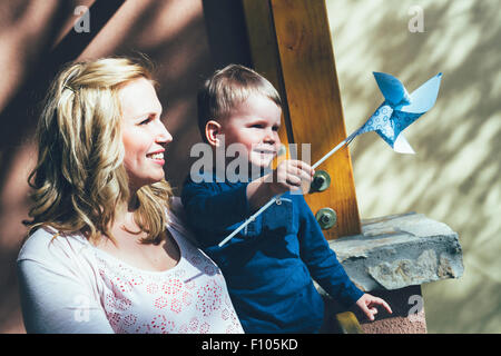 Mother having a good time with her son outdoor - Stock-Bilder