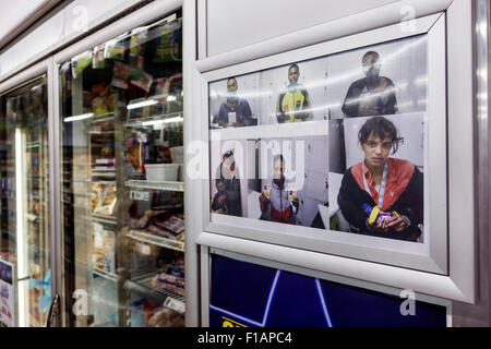 South Africa African Cape Town City Centre center Adderley Street convenience store display shoplifters pictures - Stock Image