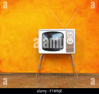 vintage television over orange background. 3d concept - Stock Image