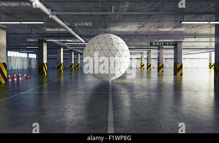 geometrical sphere in the parking. 3d creative concept - Stock-Bilder