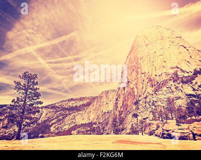 Vintage stylized nature mountain background, Yosemite National Park, USA. - Stock Image