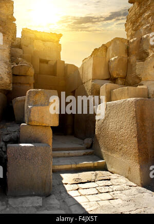 Ruined stone walls of the pharaoh tomb - Stock Image