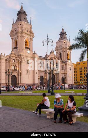 South America, Latin America, Peru, Lima, Plaza Mayor or Plaza de Armas of Lima - Stock Image