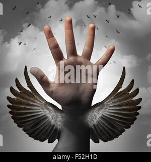 Build self confidence concept and believing in inner potential as a human hand transforming into a bird wing as - Stock-Bilder