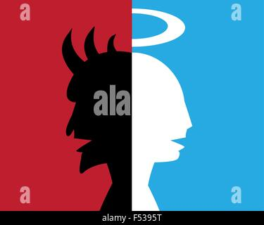two-faced man,hypocrite, deceitful person, abstract background - Stock Image