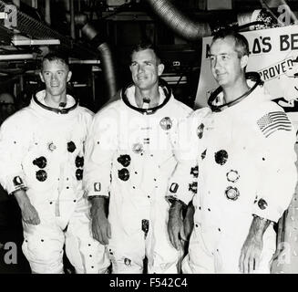 The crew of Apollo 9 mission , the astronauts Russell Schweickart , David Scott and James McDivitt , USA - Stock Image