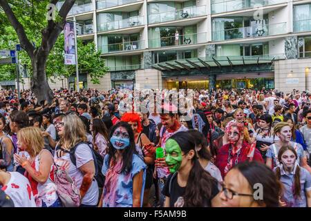 Sydney Zombie Walk raises awareness for The Brain Foundation. October 31, 2015. - Stock Image