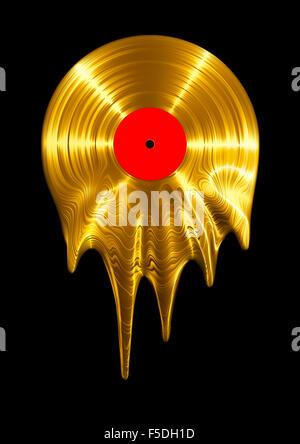Melting gold vinyl record / 3D render of vinyl record melting - Stock-Bilder